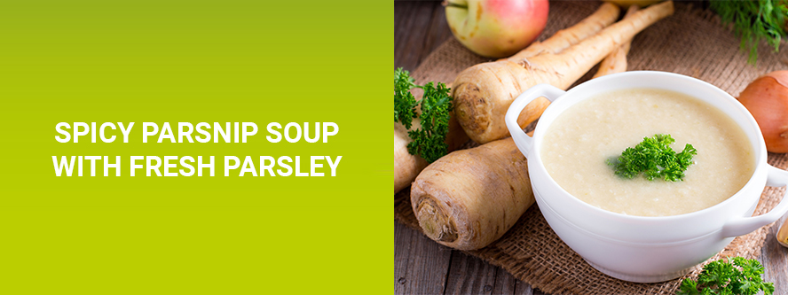 Spicy parsnip soup with fresh parsley