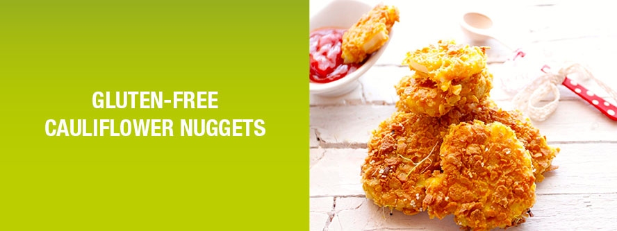 Healthy vegan cauliflower nuggets