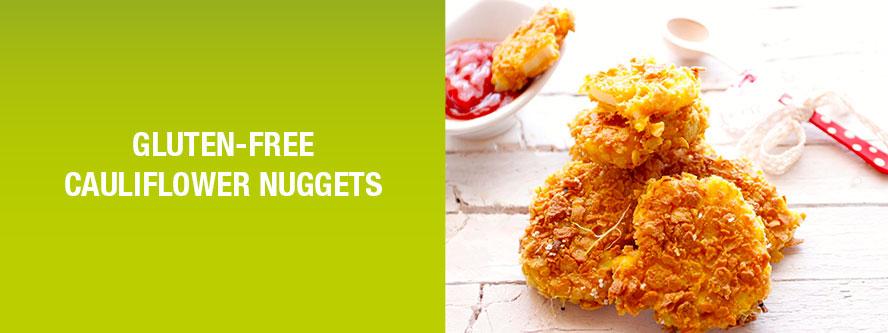 Healthy vegan cauliflower nuggets