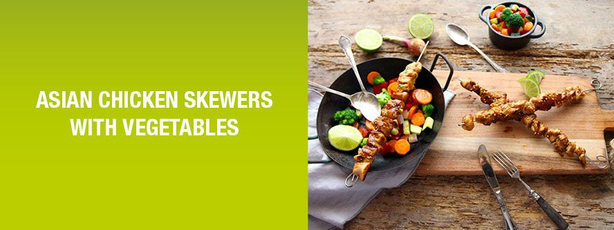 Asian chicken skewers with seasonal vegetables