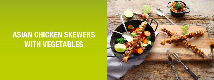 Asian chicken skewers with seasonal vegetables